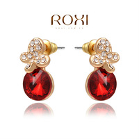 ROXI Exquisite  rose-golen earrings,red stones earrings for elegant women partys,new style,best Christmas gifts