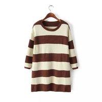5775- 2014 Winter Women's New horizontal stripes spell color bat sleeve knit casual Dress