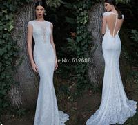 Romantic Brand vestido de noiva O-neck Lace Beaded Cap Sleeve Sexy See Through Back Mermaid Wedding Dresses 2015