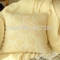 2015 new arrival IKEA fashion cotton crochet pillow case for home decor Beige 40-45cm square case towel for sofa bed decor
