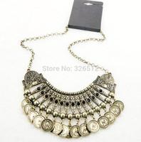 Turkish Fashion Vintage Handmade Boho Carving Flower Black Acrylic Bead Coin Fringe Necklace Metal Ball Festival Costume Jewelry