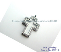 rhinestone cross 5pcs magnetic zinc alloy glass living locket floating charm without necklace as friend families gift