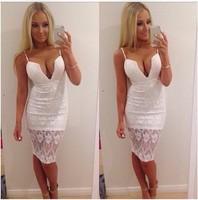 Sexy white lace dress Deep V halter strap sheath package hip dresses vestido renda branco