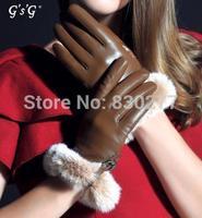 GSG   Ms.  Rabbit hair sheepskin gloves    IGSSFW13237