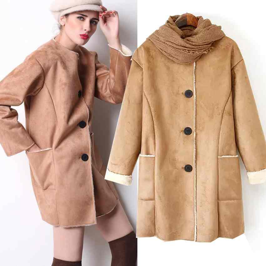 Free Shipping wind womens suede lambs wool coat padded long jacket coat dress 201412393687(China (Mainland))