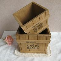 Log storage box wood flower pot props artificial flower photo props vintage photography props 15*15*11.5cm,17.5*17.5*13.5cm
