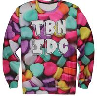 2015 New unisex women/men Brand Funny 3d sweatshirt Cartoon Candy print 3D hoodies Pullover Sportwear Sweater Fashion clothing