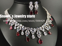 2015 fashion Nordic Luxury red water droplet Zircon Necklace Earrings Set, wedding,banquet,annual formal jewelry,S14041