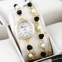 Hawaii Luxury Jewelry Rose Flower Women Leisure Bracelets Watches,New Fashion Woman Dress Casual Long Chain Pearl Quartz Watches
