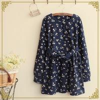 Winter women's floral print belt slim waist o-neck long-sleeve dress shirt