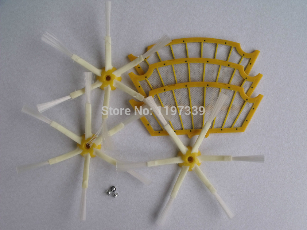 3 Filters + 3 Side Brush 6 Armed +3 Screw for iRobot Roomba 500 Series 530 550 560 570 Vacuum Cleaner Accessories Parts(China (Mainland))
