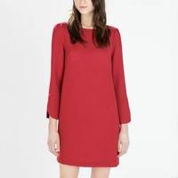 2015 New Women Brief Long Sleeve Slash Neck Straight Solid Red Mini Wedding Dress Slim Office Lady Party Evening Vestidos q320