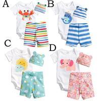 2014 New cotton children Mickey baby boys girls sets clothes 3pcs(short-sleeved Romper+hat+pants)children clothing set