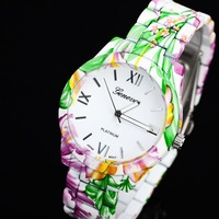 Luxury Fashion Brand Alloy Floral Rose Flower Printing Geneva Watch Rubberized Coated Ladies Women Dress Quartz Watches