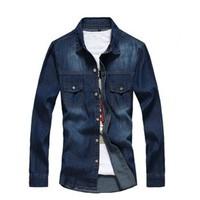 2014 New Arrival Men Shirt Long Sleeve Cowboy Cotton Stylish Pure Outwear Turn-down Collar Free Shipping U052