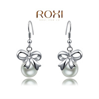ROXI Exquisite rose golden intensive mosaic earrings with preals on,for elegant women party,new ,best Christmas gifts