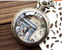 Antique Triumphal Arch Punk hollow out quartz pocket watches necklace 10pcs/lot free shipping
