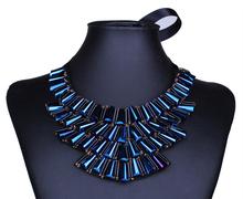 Bule crystal strass slipknot ribbon false collar choker necklace/gypsy 2015 fashion jewerly for women/bijuteria/necklaces female