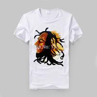bob marley HD printing soft comfortable fabric men women good quality tee shirt reggae fashion gray and white