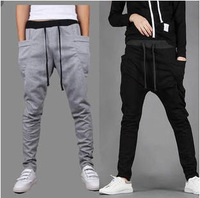 Fashion 2015 Men Bandana Pants Sarouel Baggy Tapered Hip Hop Dance Harem Sweatpants Drop Crotch Pant Man Parkour Sport Trousers