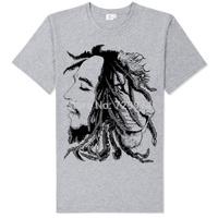 bob marley and lion head collage black and white sketch silk printing elegant gray reggae tee shirt