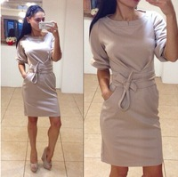 Hot! Women's Casual Dresses Winter Fashion O-neck Dress Plus Size Gray Blue Ladies Casual Dresses Vestidos 2015 Brand New