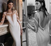 Romantic Brand vestido de noiva Scoop Full Sleeve Lace Beaded Sexy Open Back Chapel Train Mermaid Wedding Dress 2015