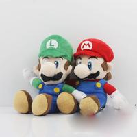 30PCS Cute Super Mario Bros.Sitting MARIO & LUIGI Plush Doll Toy 15cm New Wholesale Free Shipping
