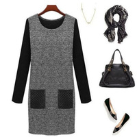 Women Casual Autumn Slim Bodycon Long Sleeve Dresses UK Size 8 10 12 14 16 18