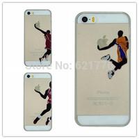 "New basketball star Digital shirt star shooting action transparent hard plastic cases for iphone 6 4.7""/6 plus Jordan/Kobe type"