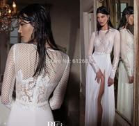 Romantic Brand vestido de noiva Scoop Full Sleeve Lace Side Split See Through Zipper Back Sweep Train A-line Wedding Dress 2015