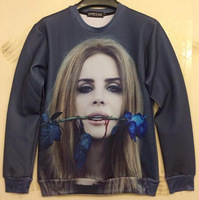 Lana Del Ray Rose print 3D hoody men autumn sweatshirt women character pullover star love clothes wholesales