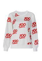 New Printed Sweatshirt Hoodies Emoji Women Pullover Fashion 100 Score Emoji Print Sweatshirt  LC25349 Casual Suit Track Suits