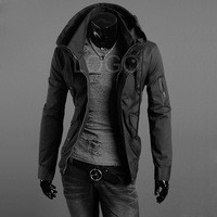 New Hot Selling Fashion Men Slim Fit Sexy Top Designed Hoodies Jackets Coats Black Size L