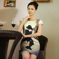 2014 new summer fashion trend female Korean temperament Slim thin short-sleeved dress package hip skirt bottoming