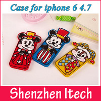 500pcs/lot For Apple iPhone 6 Mickey Minnie Daisy Donald Duck Silicone Cartoon Cover Back Phone Case Protector Skin 4.7 Inch