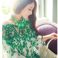 2014 new fashion brand women's 3d t-shirt retro vintage slash neck green leaf printed good Medusa tops Tshirt
