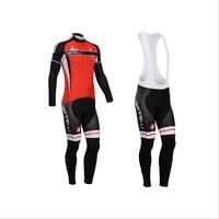 2014 Men Castelli Ropa ciclismo long cycling jersey Bicycle bicicleta mountain bike maillot shirt clothing (bibs) pants set