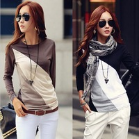 New Fashion 2014 Autumn Casual Women Contrast Color Patchwork Long Sleeved Bottoming Tops Korean Design T-Shirts M-3XL