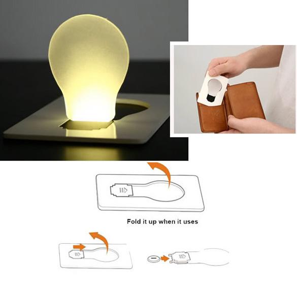 New Design Portable LED Card Pocket Light bulb Lamp Wallet Size NVIE(China (Mainland))