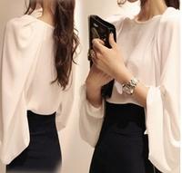 Top Fashion 2015 Women New O Neck Long Sleeve Chiffon Shirt Loose Lantern Sleeve OL White Casual Tops Blouse