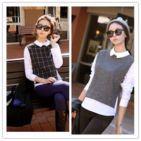 New Fashion 2015 Women College Sweet Stlye Splicing Doll Collar Long Sleeve Slim Fit Shirts Casaul Tops Blouse