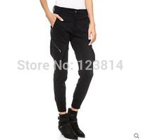 European Style Fashion Women Harem Trousers Capris Loose Mid Waist Pocket Zipper Designed Hip Package Casual Cotton Pants D688