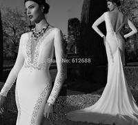 Romantic Brand vestido de noiva Deep V-neck Full Sleeve Lace Beaded Sexy Open Back Chapel Train Mermaid Wedding Dress 2015