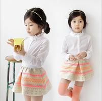 New baby girl spring high quality dress sets: plaid skirt+ white T-shirt  princess elegant formal dress sets , Free shipping