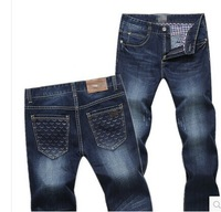 Europe and the United States and simple man jeans small straight leisure slim young foreign trade's trousers tide XL