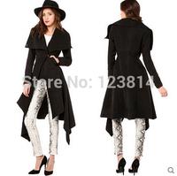 Fashion Women Autumn Winter Trench Coat Casual False-Wool Big Turn-Down Collar Asymmetrical Dovetail Pockets Casacos Coats D668