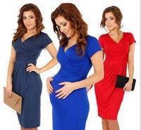 New Fashion 2014 Elegant Celebrity V-neck Short Sleeve Knee-length Cotton Casual Bodycon Women Dresses BD23