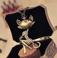 New Fashion Vintage Cat Girl Crystal Rhinestone Long Necklace Retro Women Chain Pendant