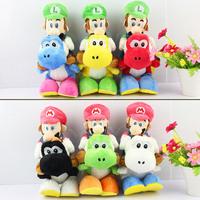 6PCS/Lot Super Mario Bros Plush 18cm 6 colors Mario Riding Yoshi Plush Doll Luigi Riding Yoshi Plush Toy